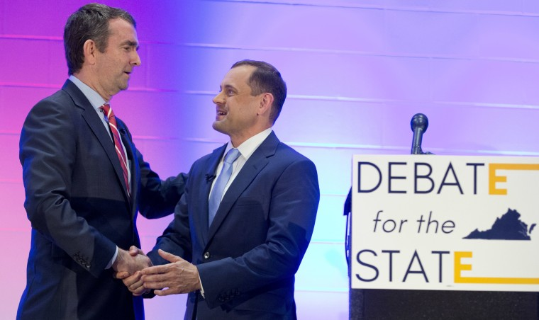 Image: Ralph Northam and Tom Perriello  shake hands after a debate at a Union hall in Richmond