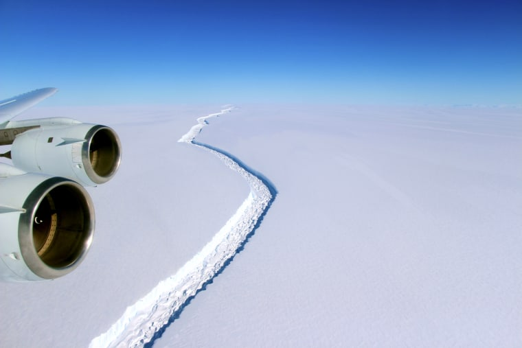 A rift along the Larsen C ice shelf from the vantage point of NASA's DC-8 research aircraft. Image acquired by NASA on November 10, 2016.