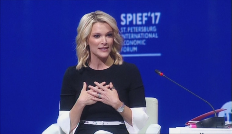 Megyn Kelly moderates the plenary session as Russian President Putin hosts the St. Petersburg International Economic Forum in St. Petersburg, Russia.