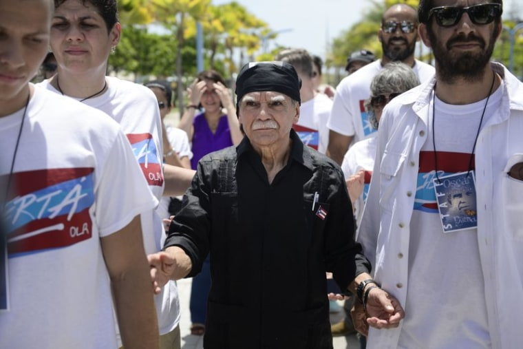 File photo of Oscar Lopez Rivera, after emerging from house arrest, May 17, 2017, in Puerto Rico.