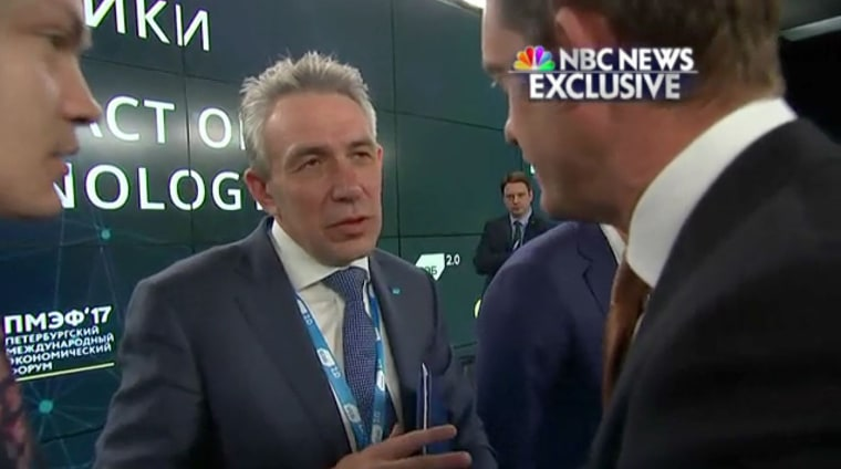 Russian banker Sergey Gorkov is questioned by NBC News' Keir Simmons