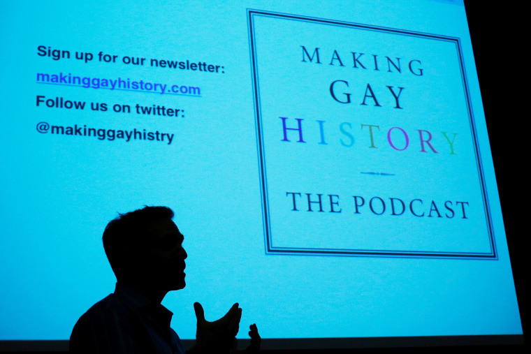 """Image: Eric Marcus, creator and host of the """"Making Gay History"""" podcast, speaks during a training session with the group History Unerased in Lowell"""