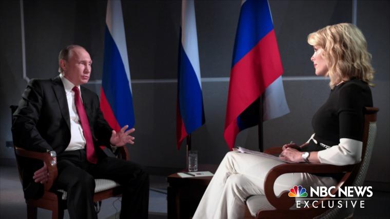 Image: Russian President Vladimir Putin sits with Megyn Kelly