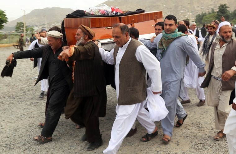 Image: People carry a coffin during a funeral for a victim from the June 2 protests demanding better security, in Kabul, Afghanistan, June 3, 2017.