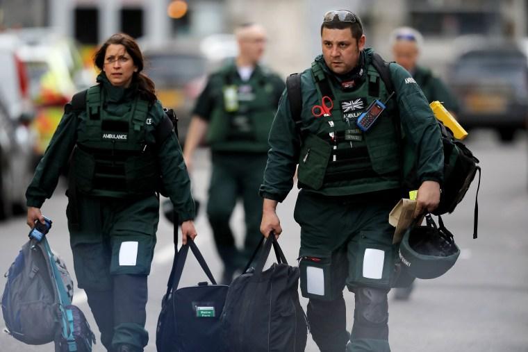 Image: Medics leave the scene of last night's London Bridge attack.