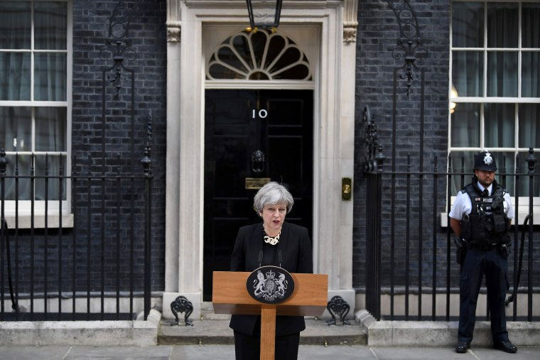 Image: The Prime Minister delivers a statement outside 10 Downing Street in central London on June 4.