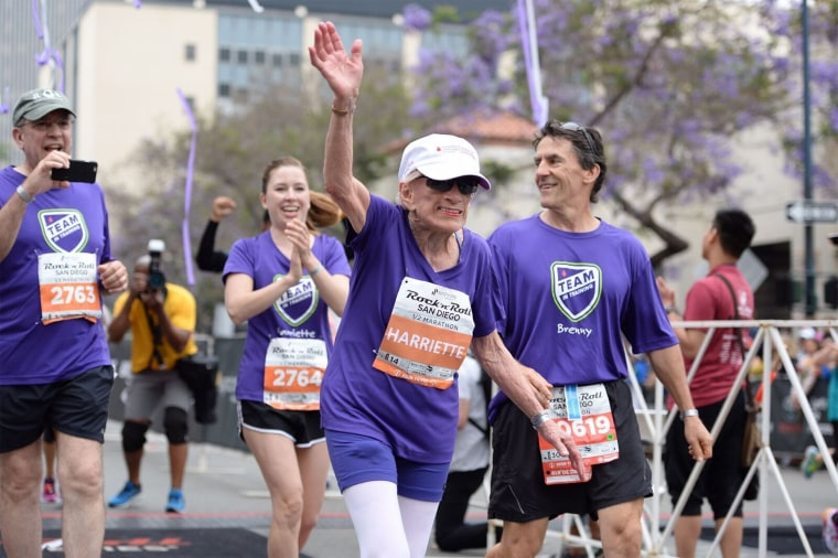 94-year-old Harriette Thompson broke a record and became the oldest woman to finish a half marathon at the San Diego Rock 'n' Roll Marathon.