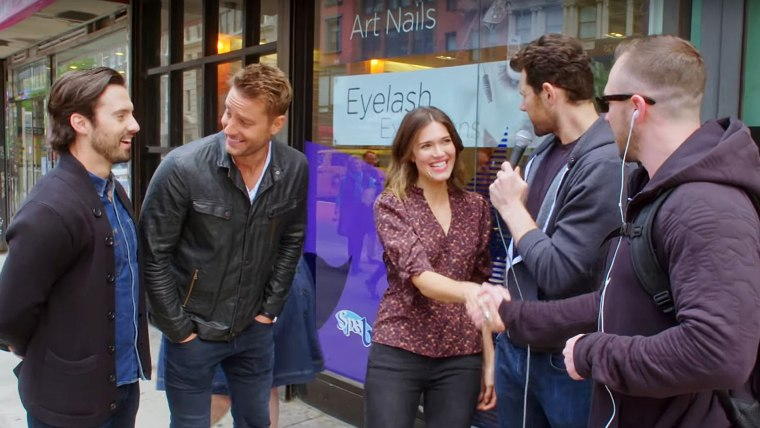 """This Is Us"" stars Milo Ventimiglia, Mandy Moore, Chrissy Metz and Justin Hartley joined comedian Billy Eichner on his truTV comedy game show ""Billy On The Street."""