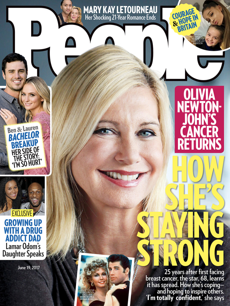 "Olivia Newton-John said she's been grateful and ""touched by the worldwide outpouring of love and concern"" since revealing her latest battle with breast cancer."