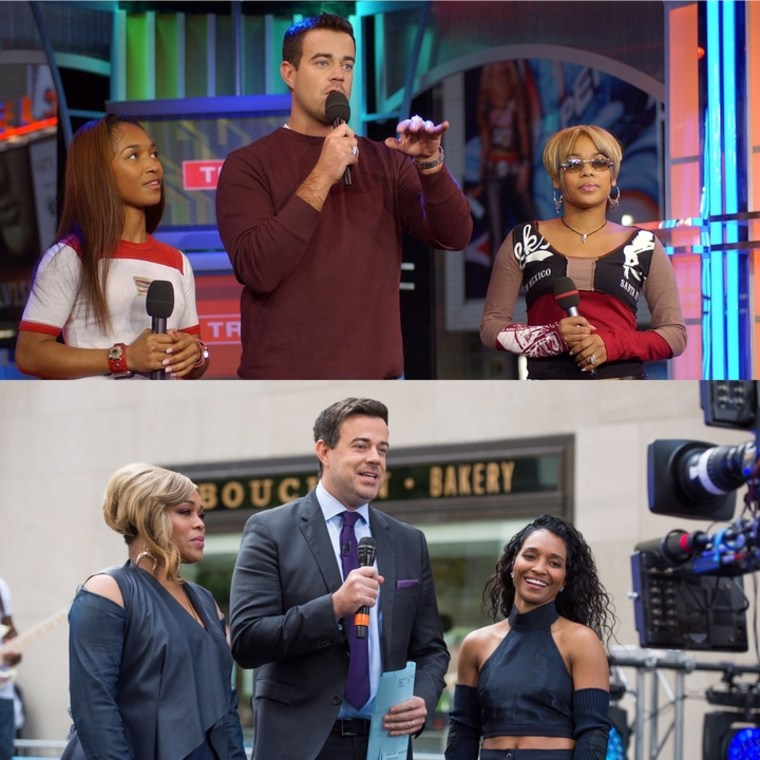 """TODAY's Carson Daly with Tionne """"T-Boz"""" Watkins and Rozonda """"Chilli"""" Thomas of TLC in 2002 and 2017."""