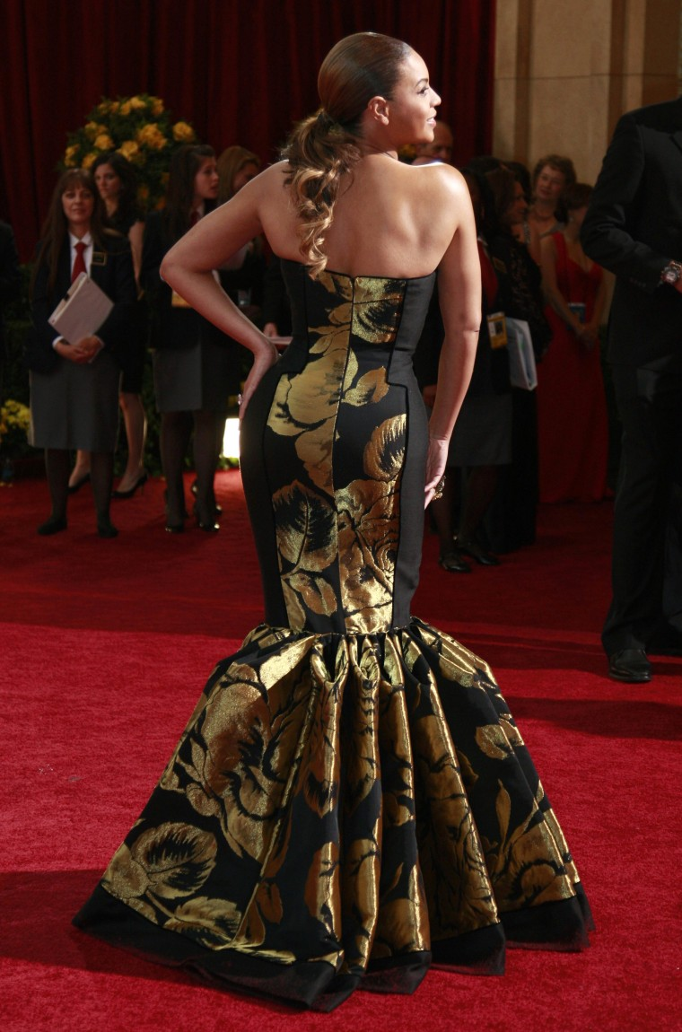 Singer Beyonce poses on red carpet while arriving at the 81st Academy Awards in Hollywood