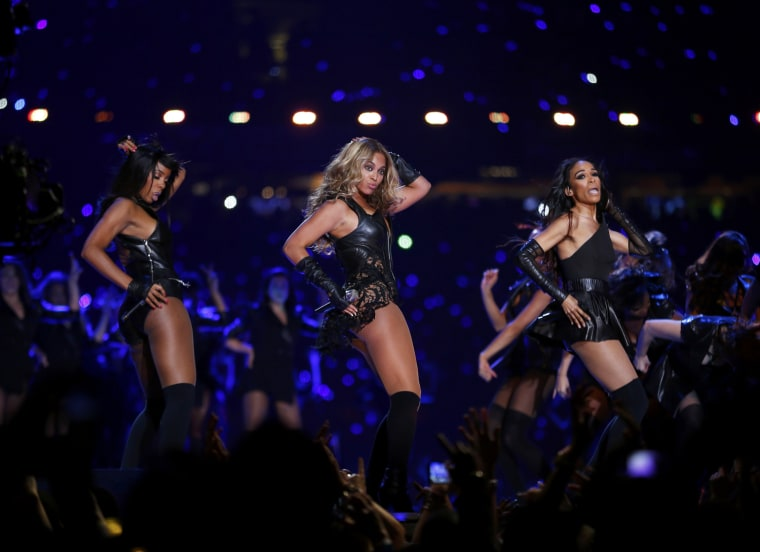 Image:  Beyonce and Destiny's Child perform during the half-time show of NFL Super Bowl XLVII football game in New Orleans