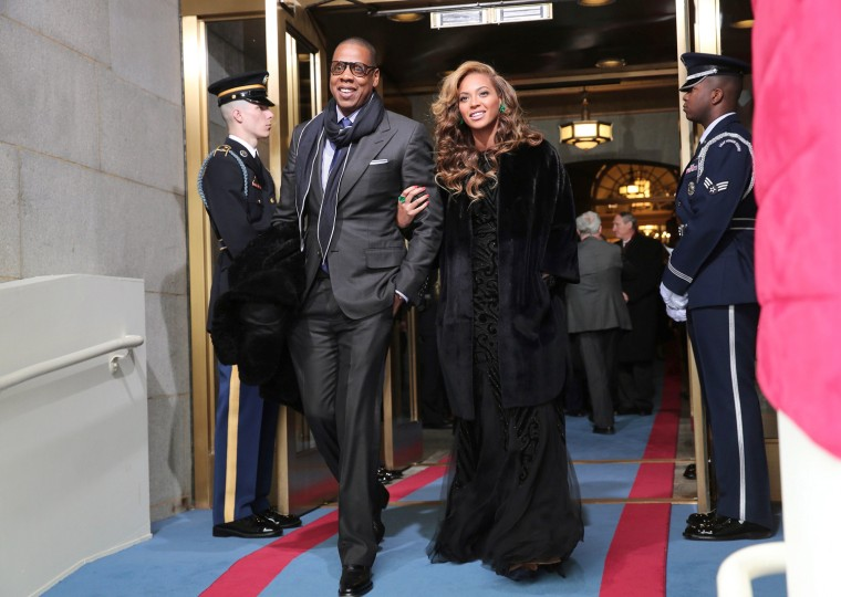 Image: Recording artists Jay-Z and Beyonce arrive for the presidential inauguration on the West Front of the U.S. Capitol in Washington