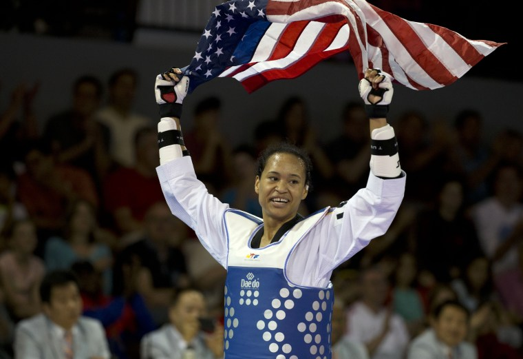 Image: Paige McPherson Paige McPherson of the U.S. celebrates winning the gold medal  in the women's taekwondo