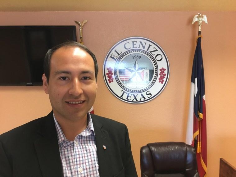 Mayor Raul Reyes in his office in El Cenizo, Texas.