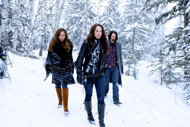 "Dominique Provost-Chalkley, Melanie Scrofano and Tim Rozon on ""Wynonna Earp"""