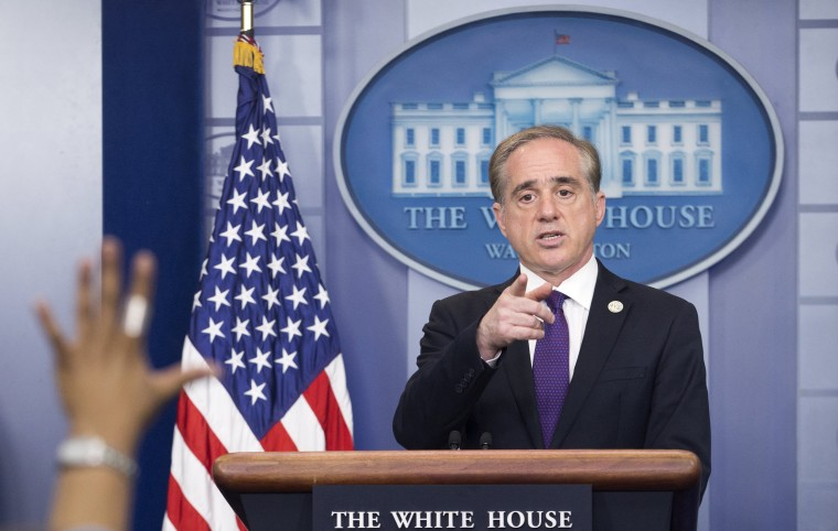 Image: U.S. Secretary of Veterans Affairs David Shulkin  takes a question during a news conference at the White House