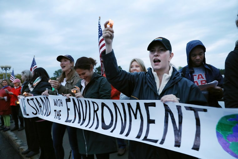 Image: People rally for the environment in Westport, Connecticut