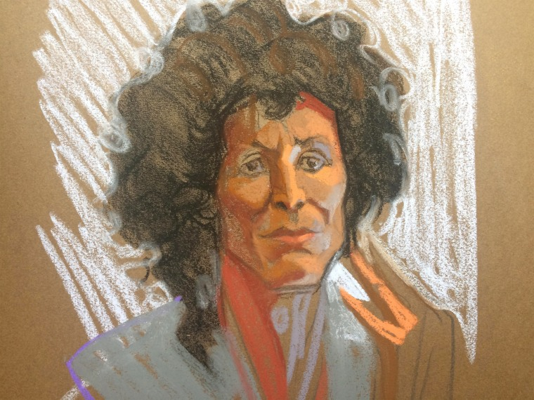 Image: Courtroom sketch of Andrea Constand during Bill Cosby's trial at the Montgomery County Courthouse
