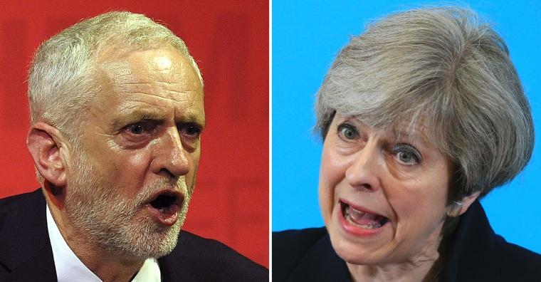 Image: Jeremy Corbyn and Theresa May