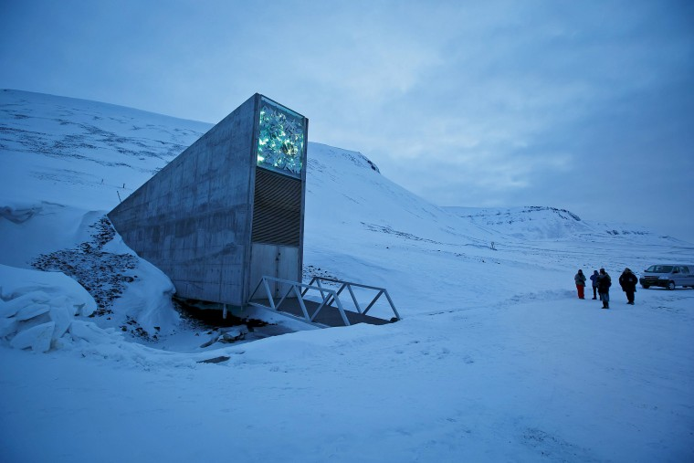 The entrance to the international gene bank Svalbard Global Seed Vault (SGSV) is pictured outside Longyearbyen on Spitsbergen, Norway