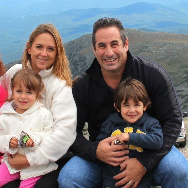Ana Elisa Pacas with her husband and twins while on vacation in New Hampshire.