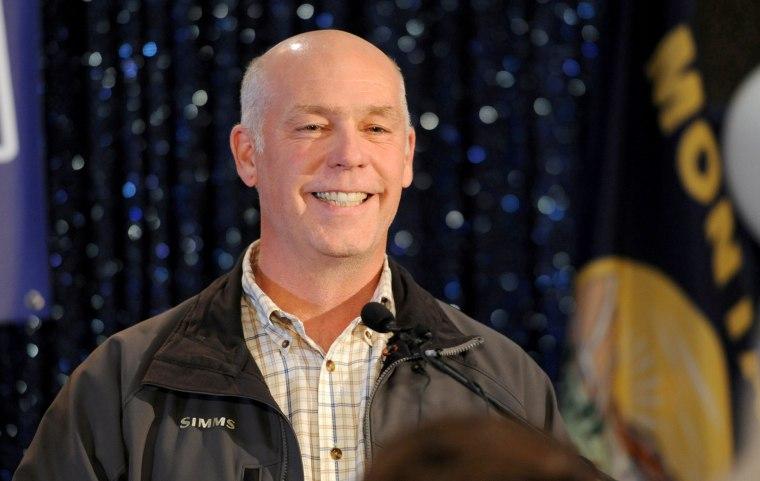 Image: Greg Gianforte Accepts Congratulations in Bozeman