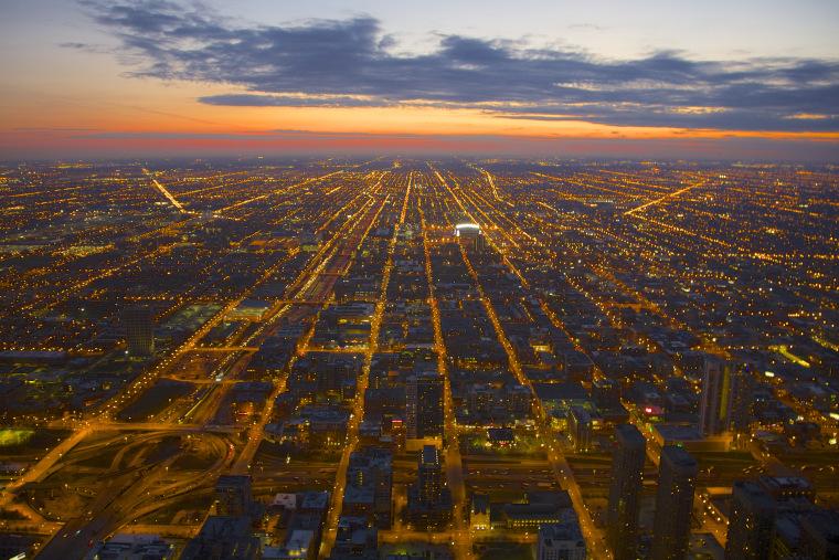 Evening view of Chicago illuminated street grid