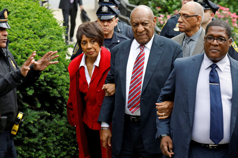 Image: Actor and comedian Bill Cosby leaves with Sheila Frazier, John Atchison and publicist Andrew Wyatt after the third day of Cosby's sexual assault trial at the Montgomery County Courthouse in Norristown