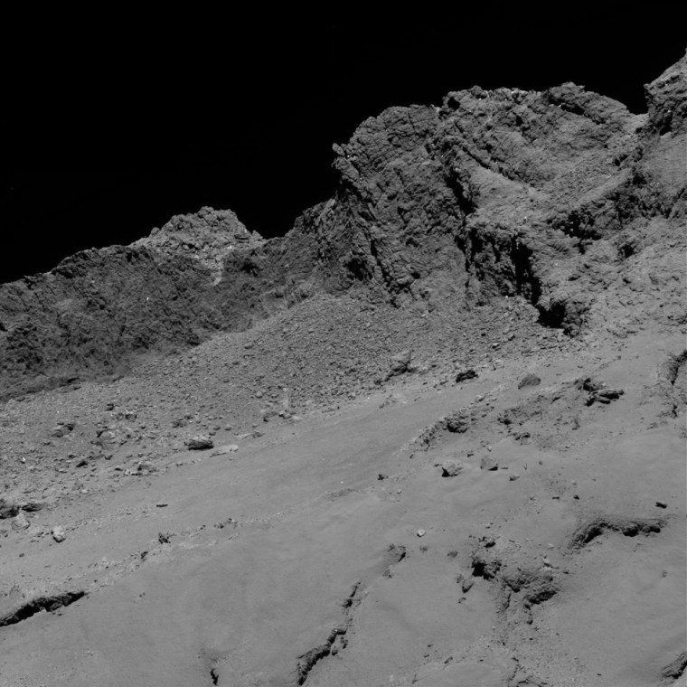 Rosetta captured this photo of Comet 67P during the probe's final descent, which culminated in a crash-landing onto the comet on Sept. 30, 2016.