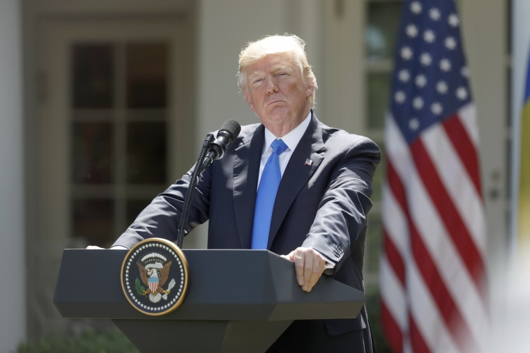 Image: President Donald Trump during a joint news conference with the Romanian president in the Rose Garden of the White House in Washington, June 9, 2017.
