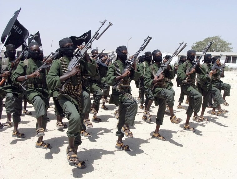 Image: Hundreds of newly trained al-Shabab fighters perform military exercises in the Lafofe area some 18 km south of Mogadishu, in Somalia, Feb. 17, 2011.