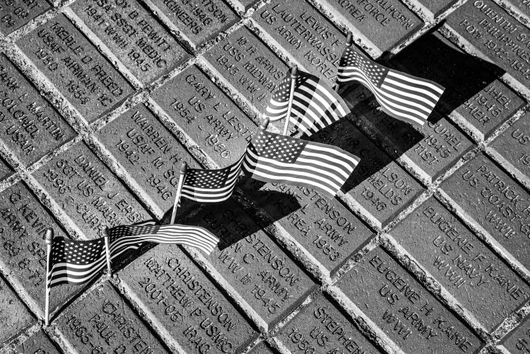 Image: Names are engraved into bricks at Memorial Park in Cedar Rapids.