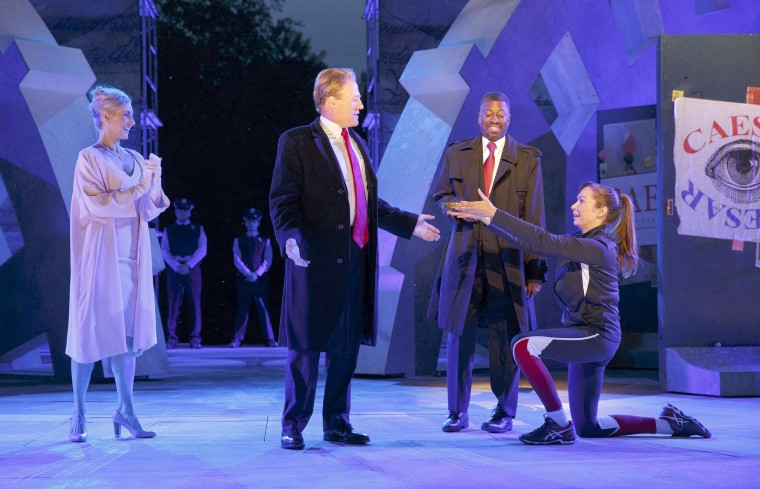 Image: Tina Benko, left, portrays Melania Trump and Gregg Henry, center left, portrays President Donald Trump in the role of Julius Caesar during a dress rehearsal of The Public Theater's Free Shakespeare in the Park production of Julius Caesar.
