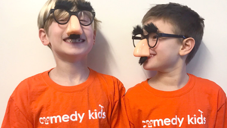 8-year-olds who started a non-profit, Comedy Kids, where they tell jokes to help raise money for cancer research.