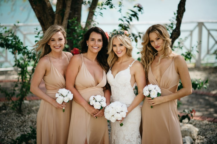 Jess Nakrayko with her bridesmaids. Kieley and Lee, Nakrayko's sister, stand on either side of the bride.