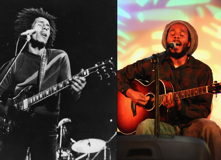 circa 1974:  Bob Marley (1945 - 1981) , the singer, guitarist and composer of reggae music in concert.  (Photo by Gary Merrin/Keystone/Getty Images)  LOS ANGELES, CA - OCTOBER 14:  Singer Ziggy Marley performs at the Healthy Child Healthy World Annual Gala on October 14, 2010 in Los Angeles, California.  (Photo by Alberto E. Rodriguez/Getty Images) *** Local Caption *** Ziggy Marley