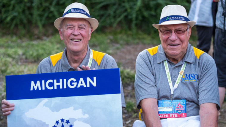 """Bill Brownson and Everett """"Ev"""" Beemer represented Michigan in National Senior Games. The two men became best friends as they bonded over being caregivers to their wives."""