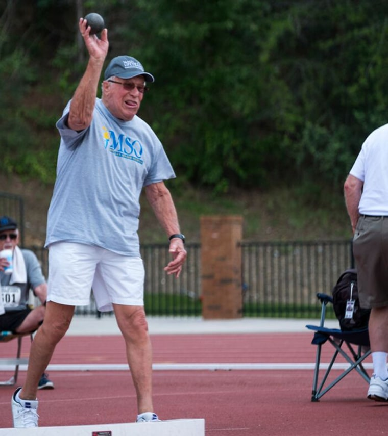 """Everett """"Ev"""" Beemer won 10th place in shotput in the National Senior Games. While Beemer would have liked to medal, he felt happy that he could share this experience with bestie Bill Brownson."""