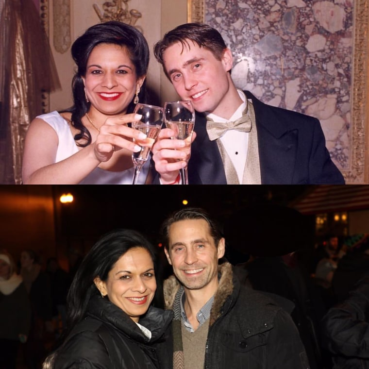 Then and now: Gandhi and her husband on their wedding day (top), and today, 20 years later (bottom).
