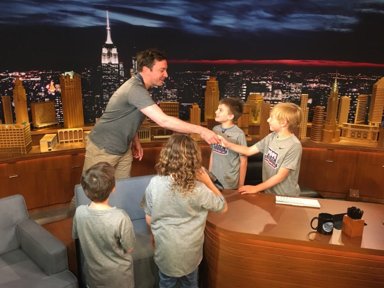 The boys meet Jimmy Fallon during a visit last month as part of Hope Week.