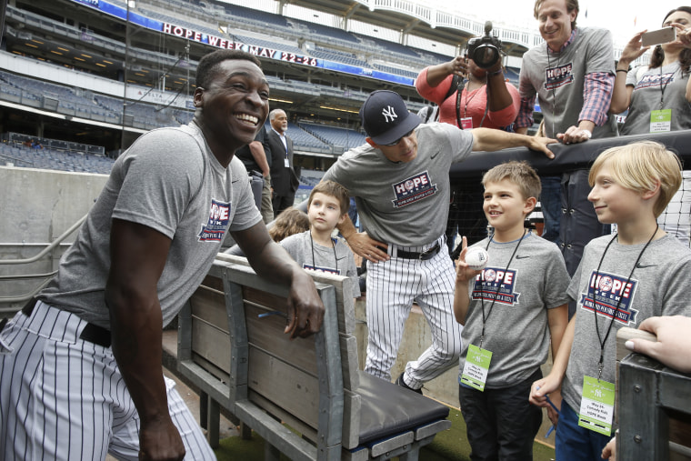 Visiting the Yankees during Hope Week in May.