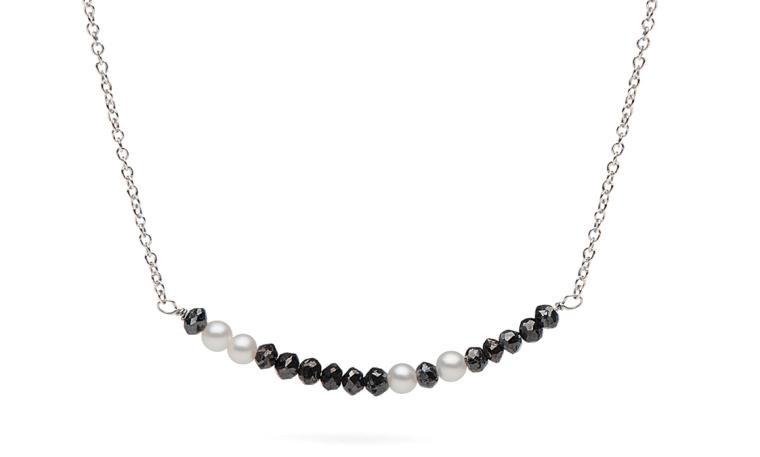Zodiac Sign Black Diamond and Pearl Morse Code Necklace