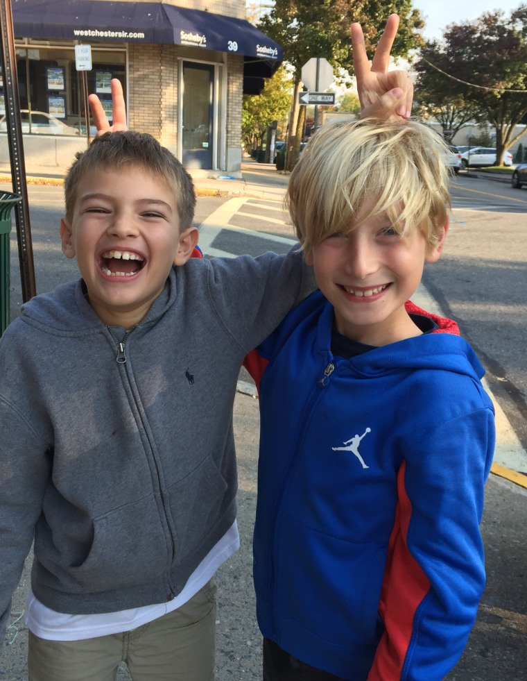 "Eight-year-olds Max Chwatko and Alex Travin, founders of ""Comedy Kids."""