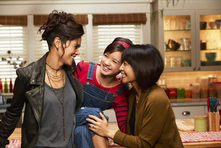 """The women of Disney's \""""Andi Mack,\"""" from left to right: Lilan Bowden, Peyton Elizabeth Lee, Lauren Tom."""