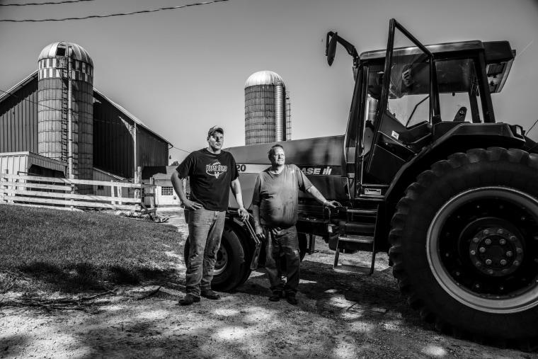 Image: Pat Steffensmesier and his son Matt on their 201 acre farm in Dyersville, Iowa.
