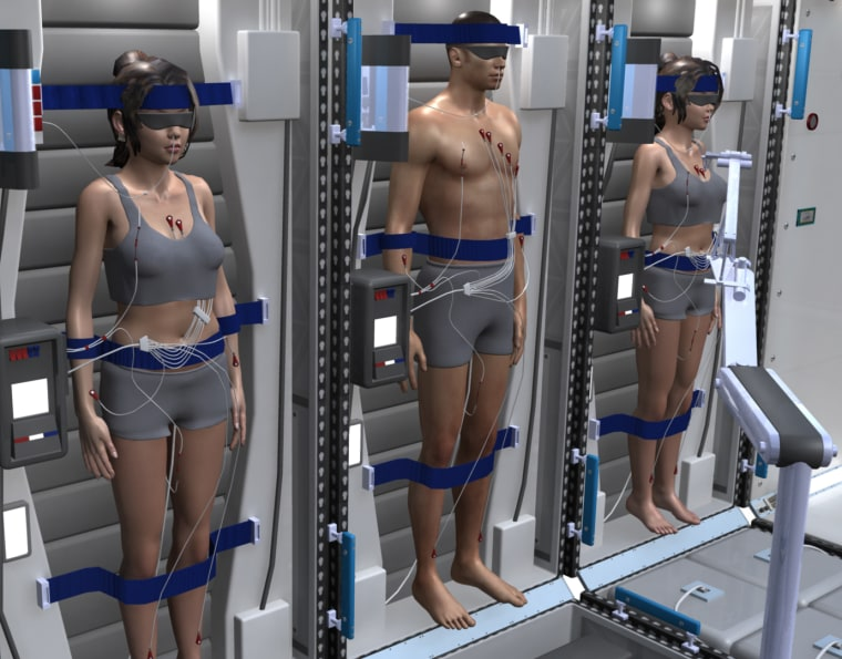 An artist's impression shows a crew of astronauts in a state of deep sleep.