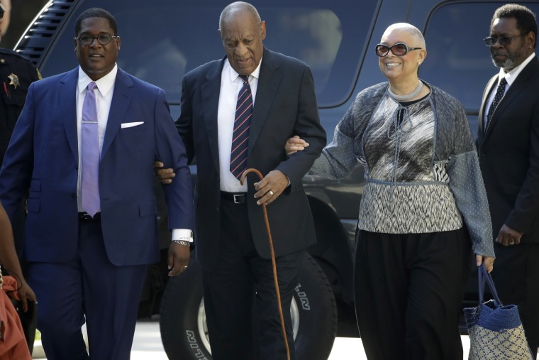 Image: Bill Cosby arrives for his sexual assault trial with his wife Camille Cosby, right, at the Montgomery County Courthouse in Norristown, Pennsylvania, June 12, 2017.