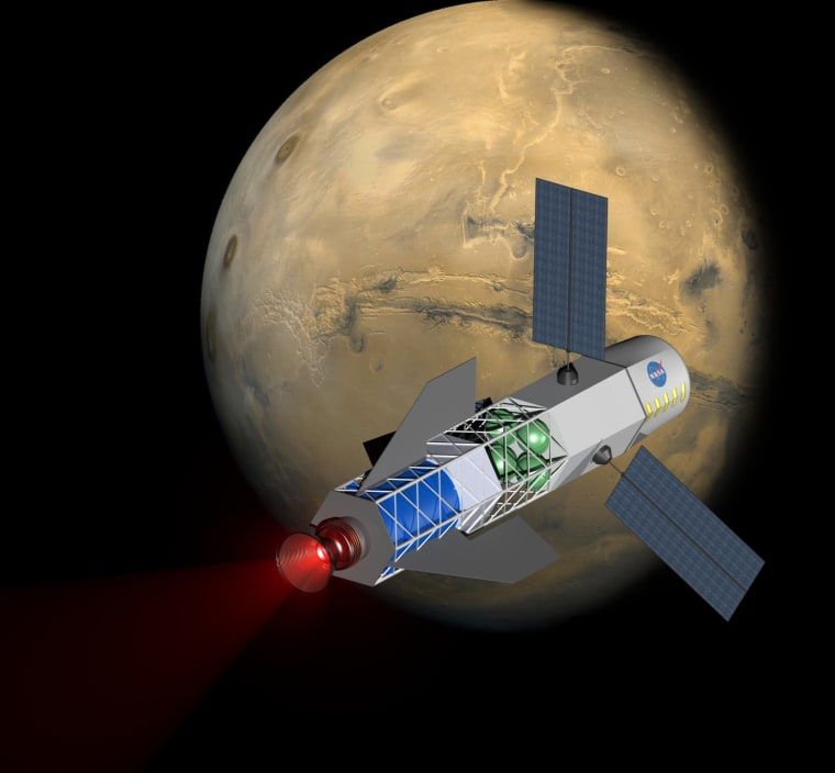 Artist's illustration of a fusion-driven rocket powering a spacecraft to Mars. The company Princeton Satellite Systems is working to develop small fusion drives that could make such missions a reality.