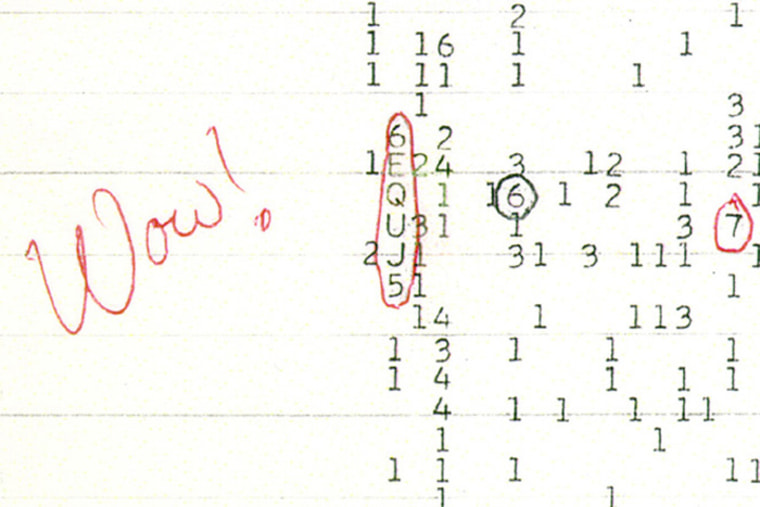 "A color scan of the original computer printout of the ""Wow!"" signal as detected by the Big Ear Radio Observatory in 1977."